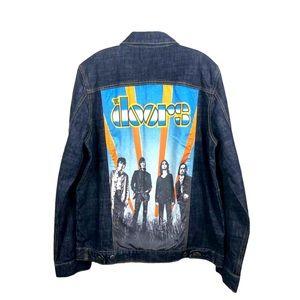 The Doors Dark Denim Jacket Officially Licensed Back Graphic - Men's Med/Large